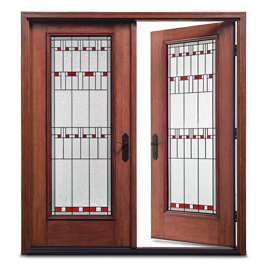 Brown French door by Zen Windows St. Louis